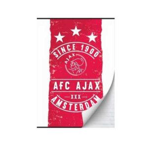 Ajax schrift since A5 rood wit gelinieerd
